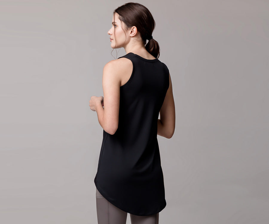 BLUE LONG HEM TANK TOP - Adrenalina AW | Luxury Activewear
