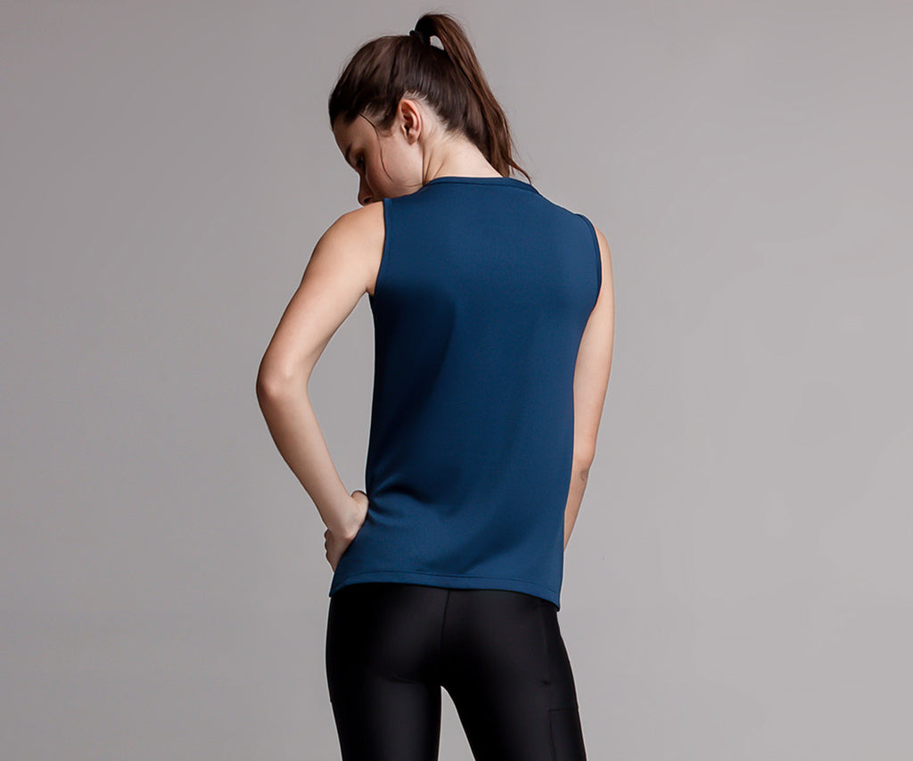 BLUE ASYMMETRICAL TANK TOP - Adrenalina AW | Luxury Activewear