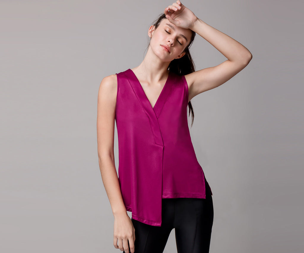 PINK ASYMMETRICAL TANK TOP - Adrenalina AW | Luxury Activewear
