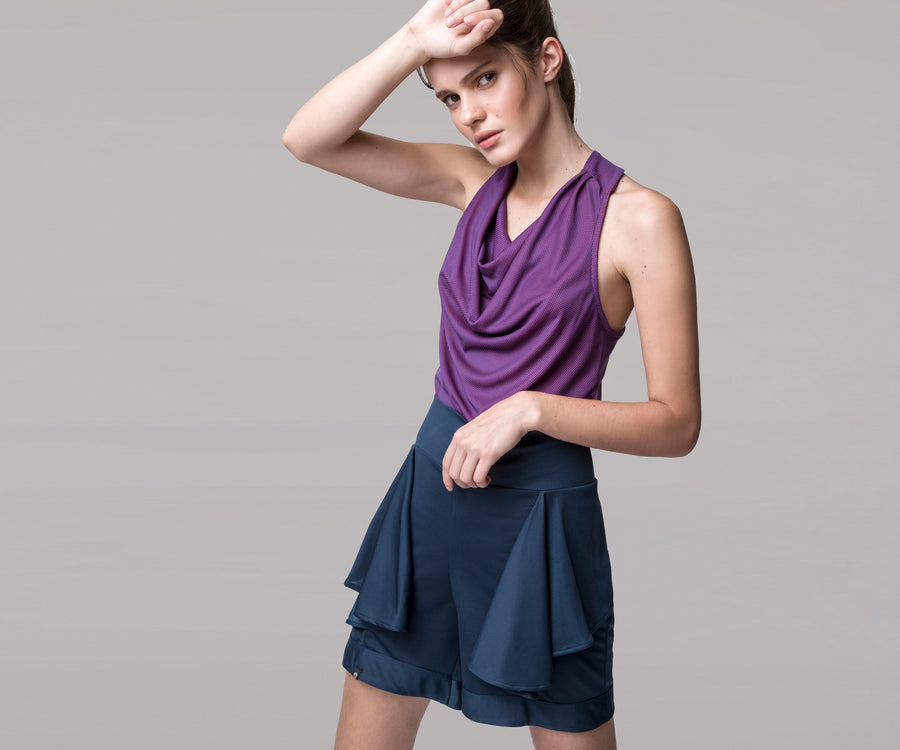 PURPLE DRAPE TANK TOP - Adrenalina AW | Luxury Activewear