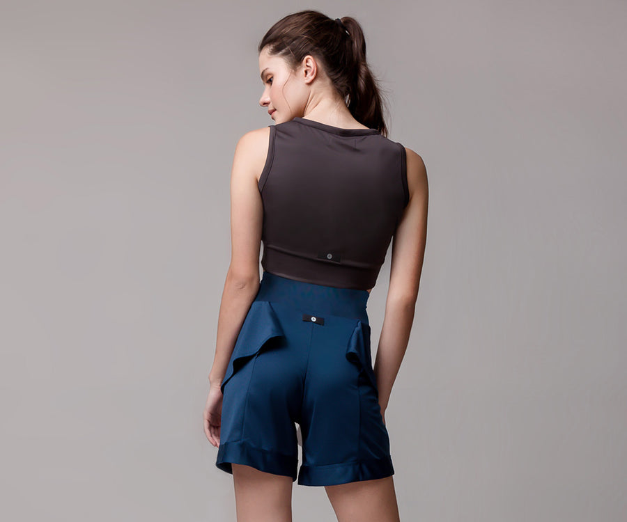 BLUE FLARE SHORTS - Adrenalina AW | Luxury Activewear
