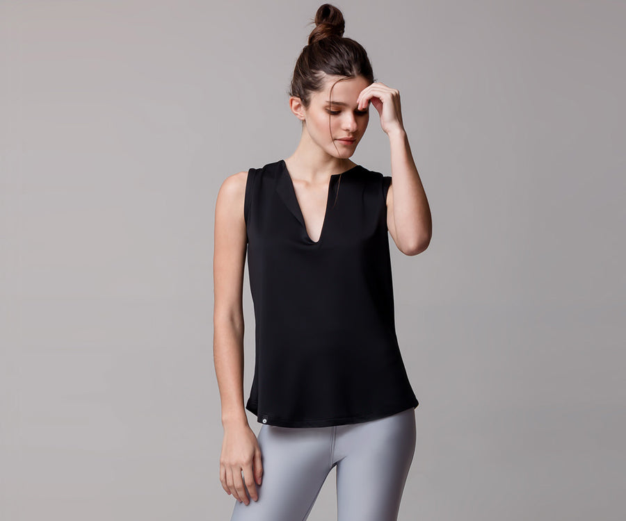 BLACK CLASSIC TANK TOP - Adrenalina AW | Luxury Activewear