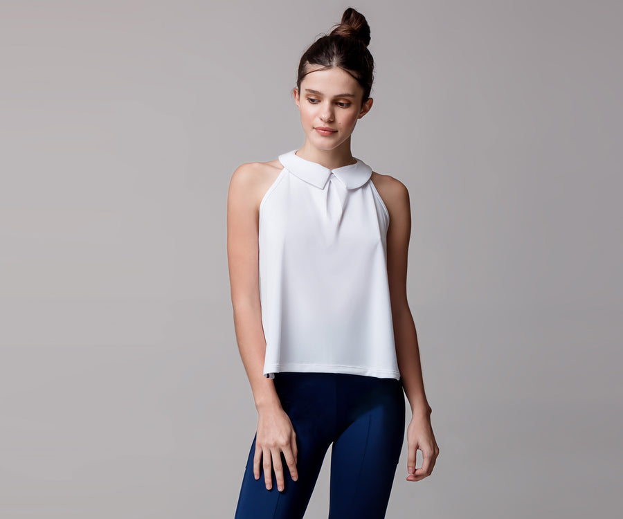 WHITE SLEEVELESS COLLAR SHIRT - Adrenalina AW | Luxury Activewear