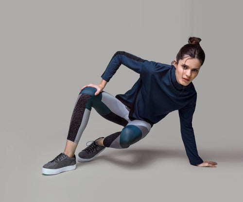 BLUE COLOR BLOCK LEGGINGS - Adrenalina AW | Luxury Activewear