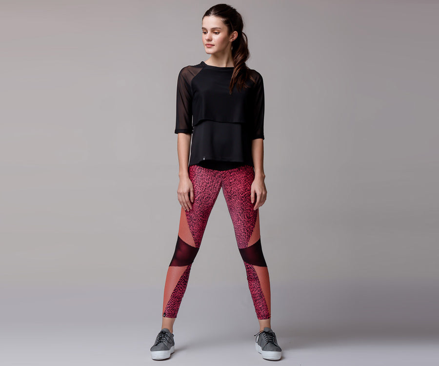 PINK COLOR BLOCK LEGGINGS - Adrenalina AW | Luxury Activewear