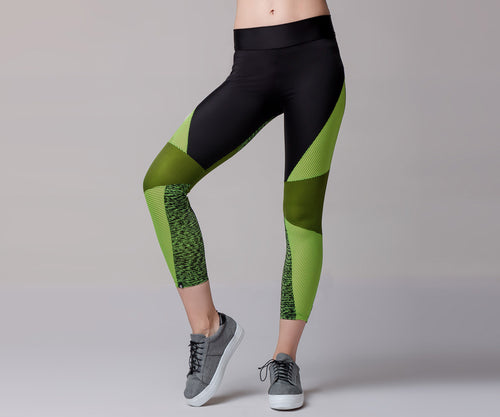 GREEN COLOR BLOCK LEGGINGS - Adrenalina AW | Luxury Activewear