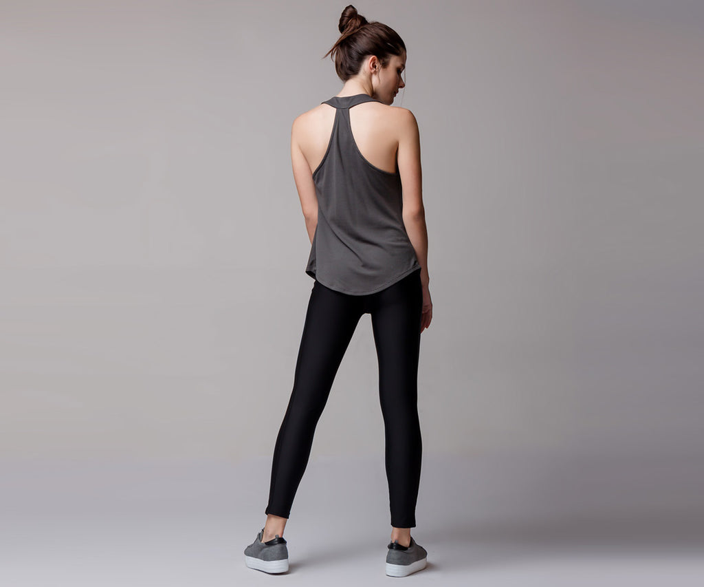 GRAY DRAPE TANK TOP - Adrenalina AW | Luxury Activewear