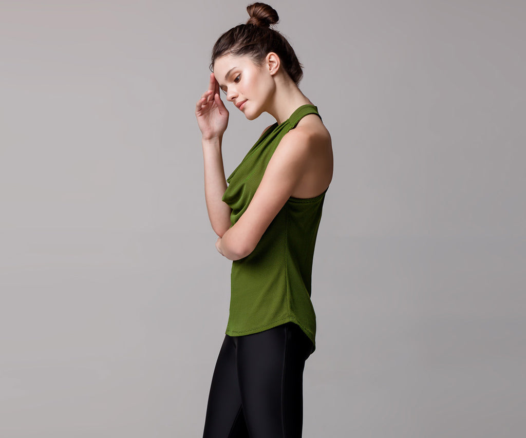 GREEN DRAPE TANK TOP - Adrenalina AW | Luxury Activewear