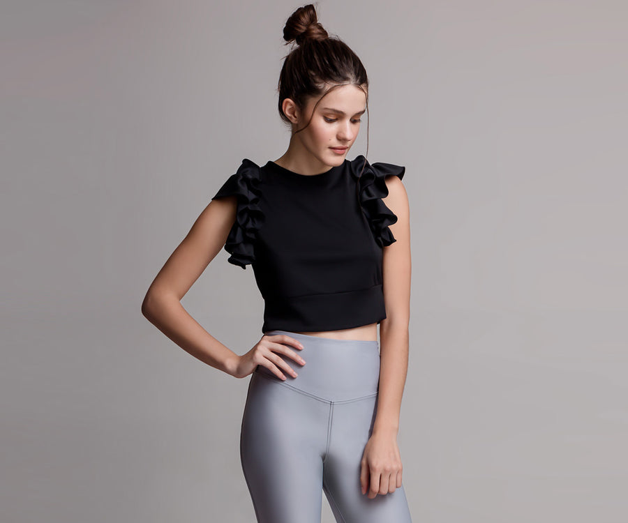 BLACK FLARE CROP TOP - Adrenalina AW | Luxury Activewear