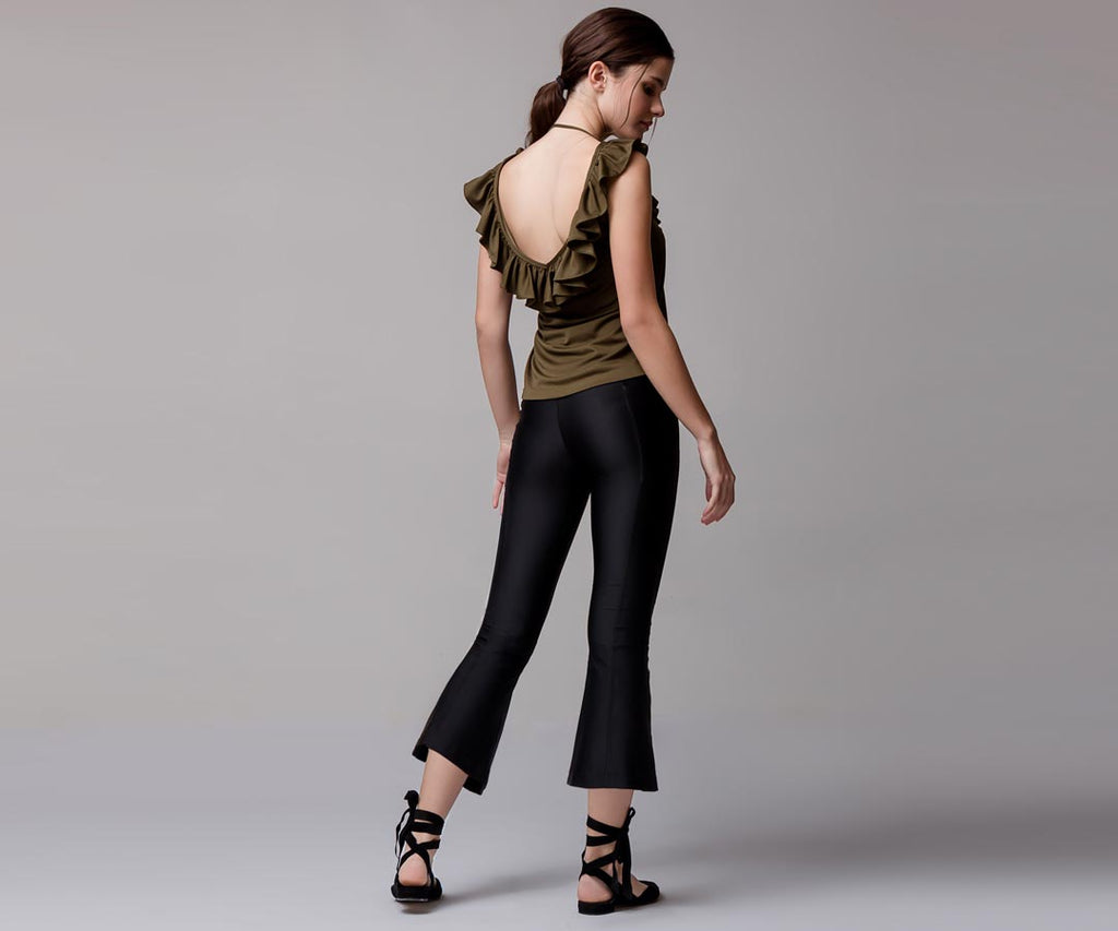 BLACK FLARE BELL BOTTOM LEGGINGS - Adrenalina AW | Luxury Activewear