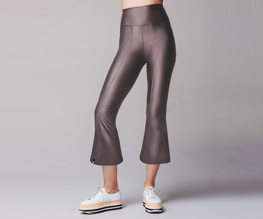 GRAY FLARE BELL BOTTOM LEGGINGS - Adrenalina AW | Luxury Activewear