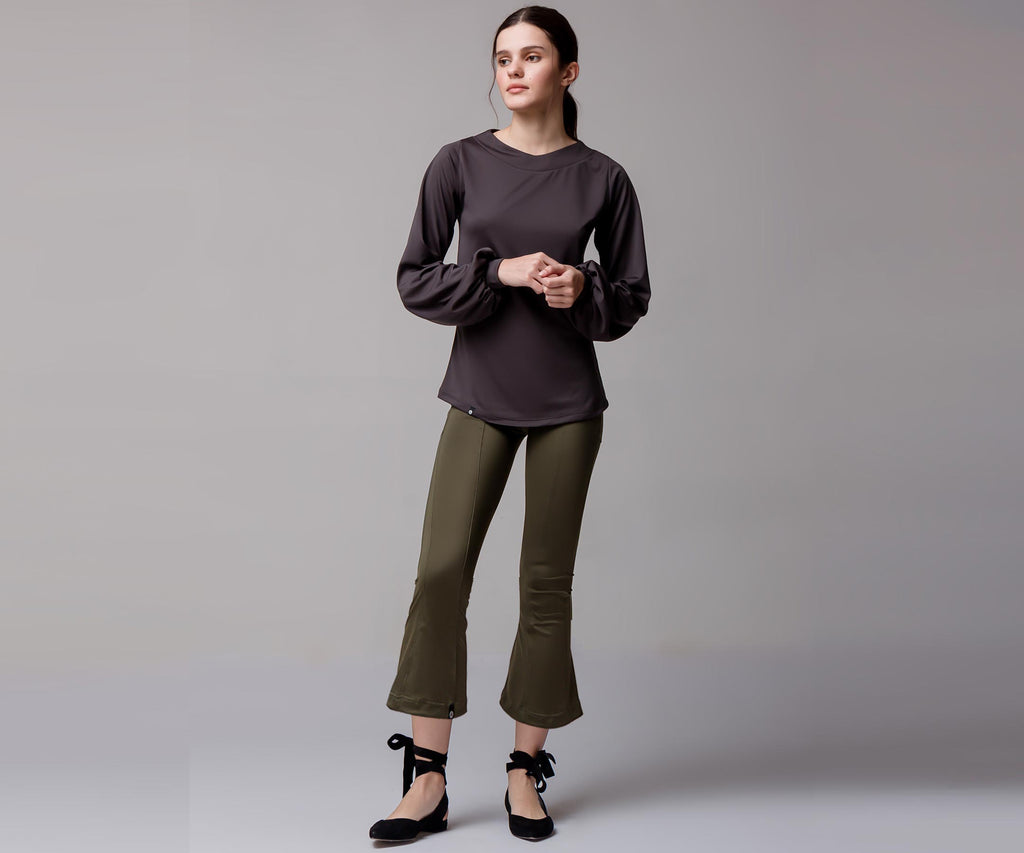GRAY WIDE LONG SLEEVE SHIRT - Adrenalina AW | Luxury Activewear