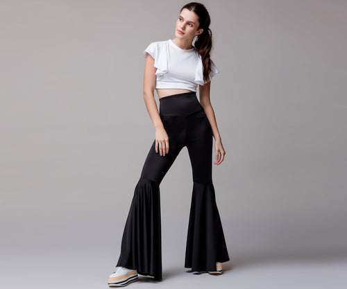 BLACK HIGH WAIST LONG BELL PANTS - Adrenalina AW | Luxury Activewear