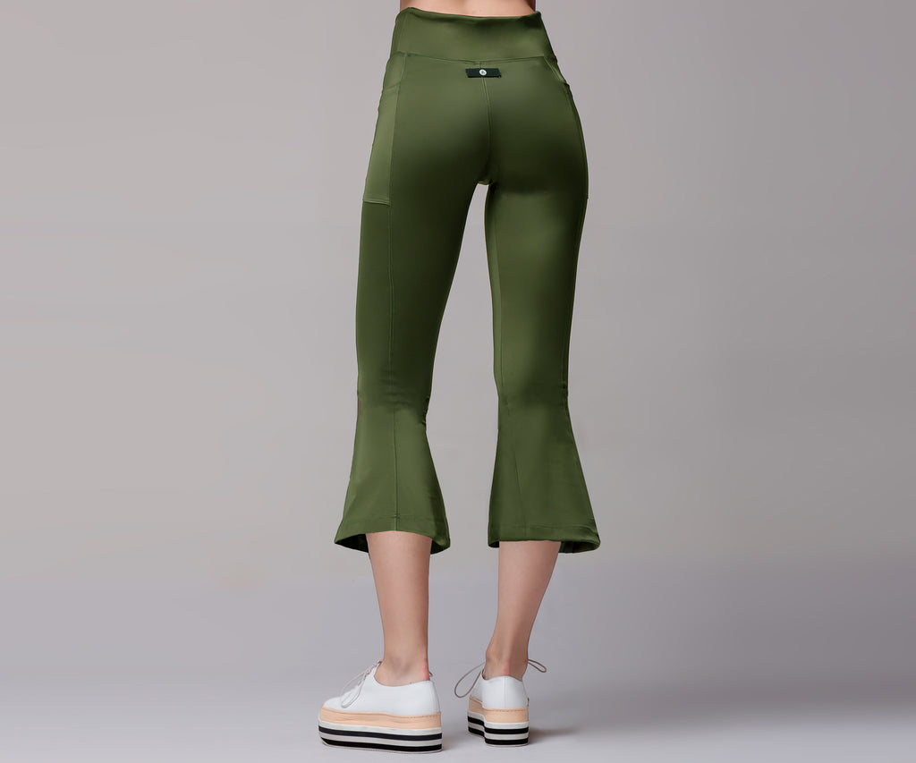 GREEN FLARE BELL BOTTOM LEGGINGS - Adrenalina AW | Luxury Activewear