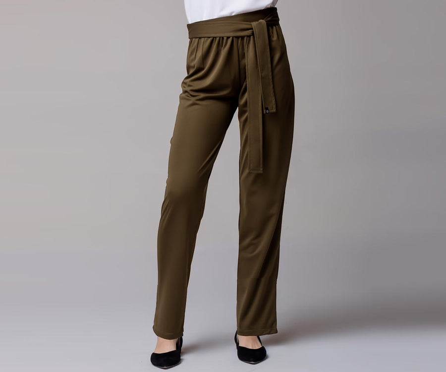 OLIVE GREEN BELTED STRAIGHT PANTS - Adrenalina AW | Luxury Activewear