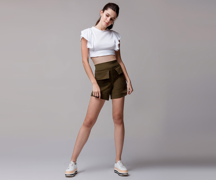 GREEN FRONT POCKETS SHORTS - Adrenalina AW | Luxury Activewear
