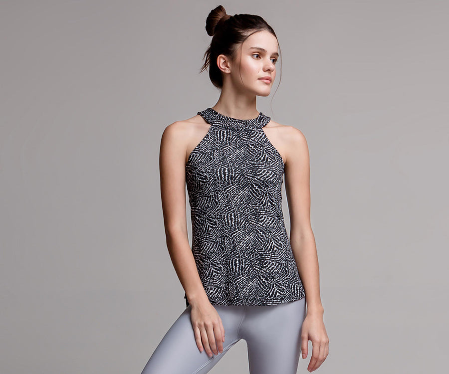 BLACK & WHITE HALTER TANK TOP - Adrenalina AW | Luxury Activewear