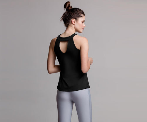 BLACK HALTER TANK TOP - Adrenalina AW | Luxury Activewear