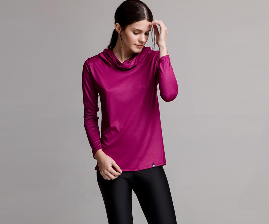 PINK HOODED-NECK SHIRT - Adrenalina AW | Luxury Activewear