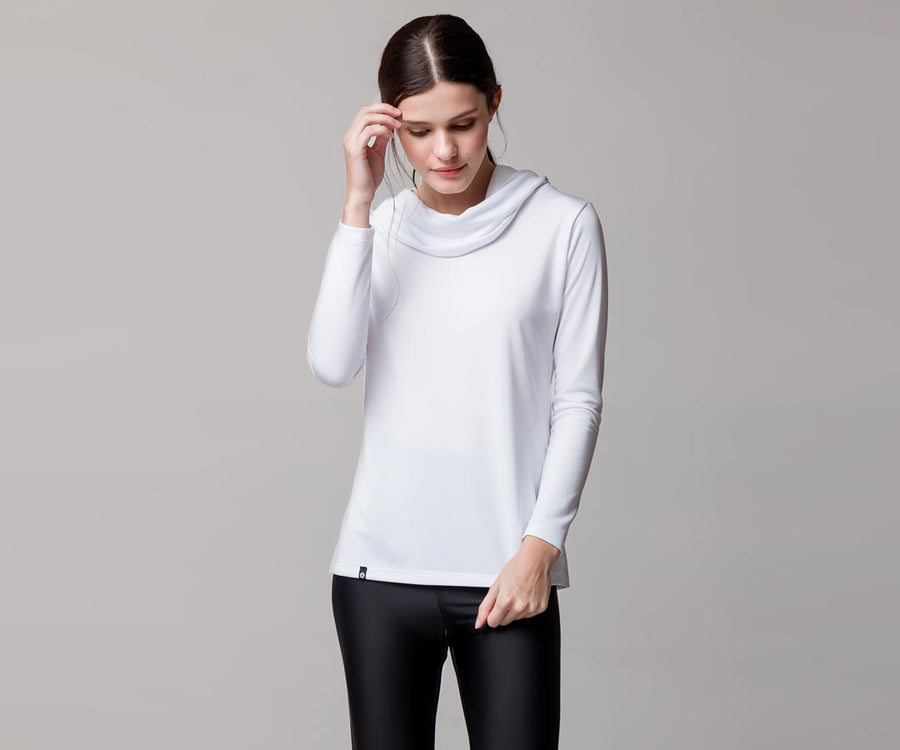 WHITE HOODED-NECK SHIRT - Adrenalina AW | Luxury Activewear
