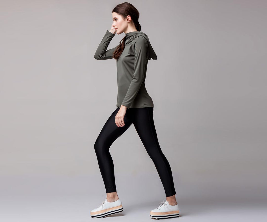GRAY HOODED-NECK SHIRT - Adrenalina AW | Luxury Activewear