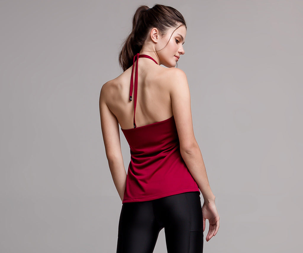 RED HALTER LACE TOP - Adrenalina AW | Luxury Activewear