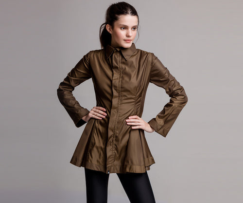 GREEN FLARE TRENCH COAT - Adrenalina AW | Luxury Activewear