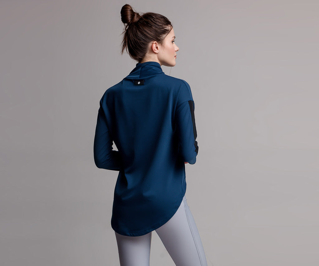 BLUE ASYMMETRICAL SWEATER - Adrenalina AW | Luxury Activewear
