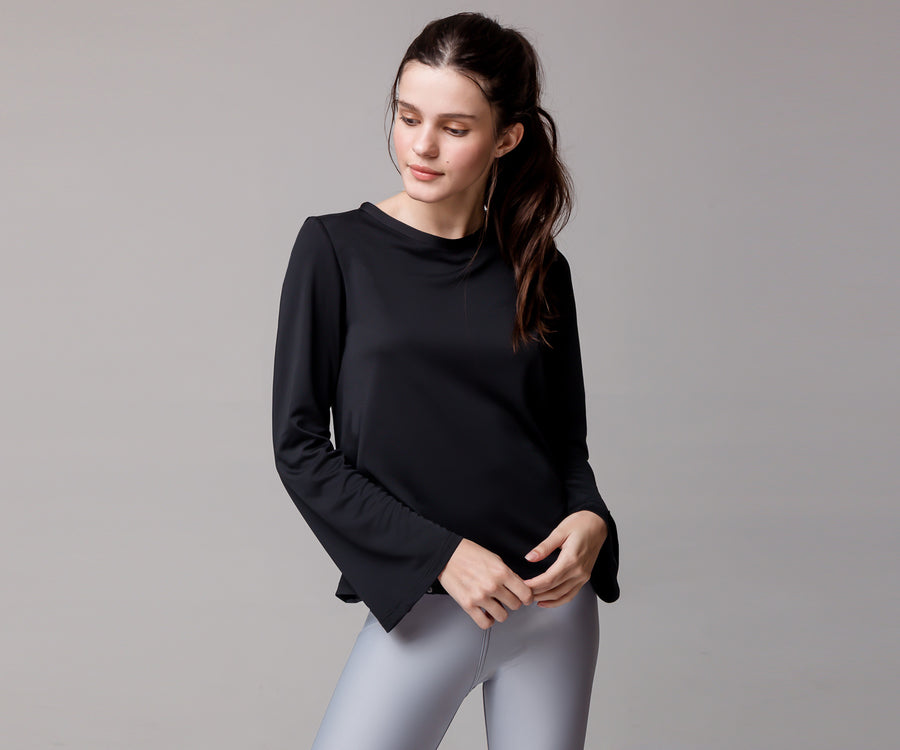 BLACK BELL SLEEVE SHIRT - Adrenalina AW | Luxury Activewear