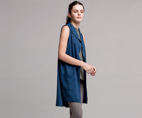 LONG NAVY VEST - Adrenalina AW | Luxury Activewear