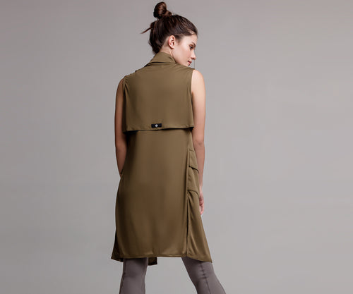 GREEN LONG MILITARY VEST - Adrenalina AW | Luxury Activewear