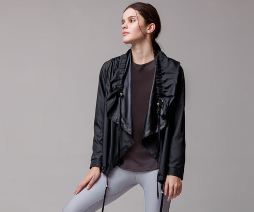 BLACK FLARE PONCHO - Adrenalina AW | Luxury Activewear
