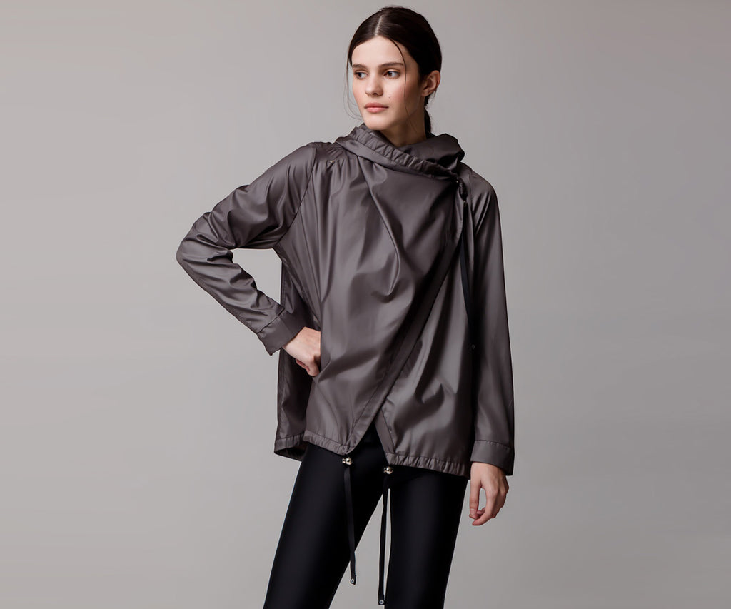 GRAY FLARE PONCHO - Adrenalina AW | Luxury Activewear