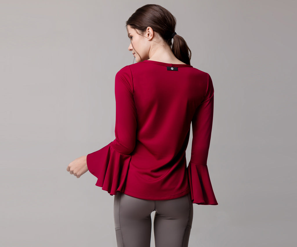 RED LONG SLEEVE FLARE SHIRT - Adrenalina AW | Luxury Activewear