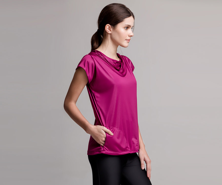 PINK SHORT-SLEEVE TANK WITH POCKETS - Adrenalina AW | Luxury Activewear