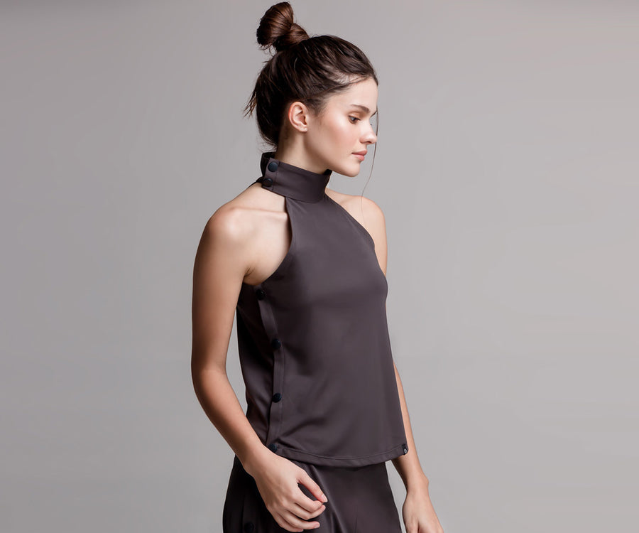 GRAY SNAP TANK TOP - Adrenalina AW | Luxury Activewear