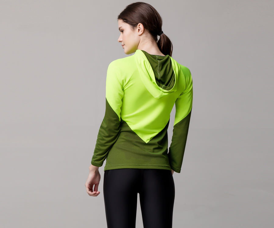 GREEN V HOODED SHIRT - Adrenalina AW | Luxury Activewear