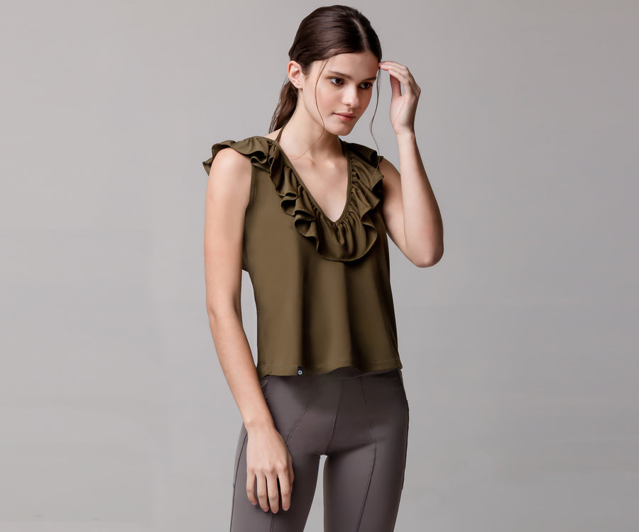 GREEN FLARE TANK TOP - Adrenalina AW | Luxury Activewear
