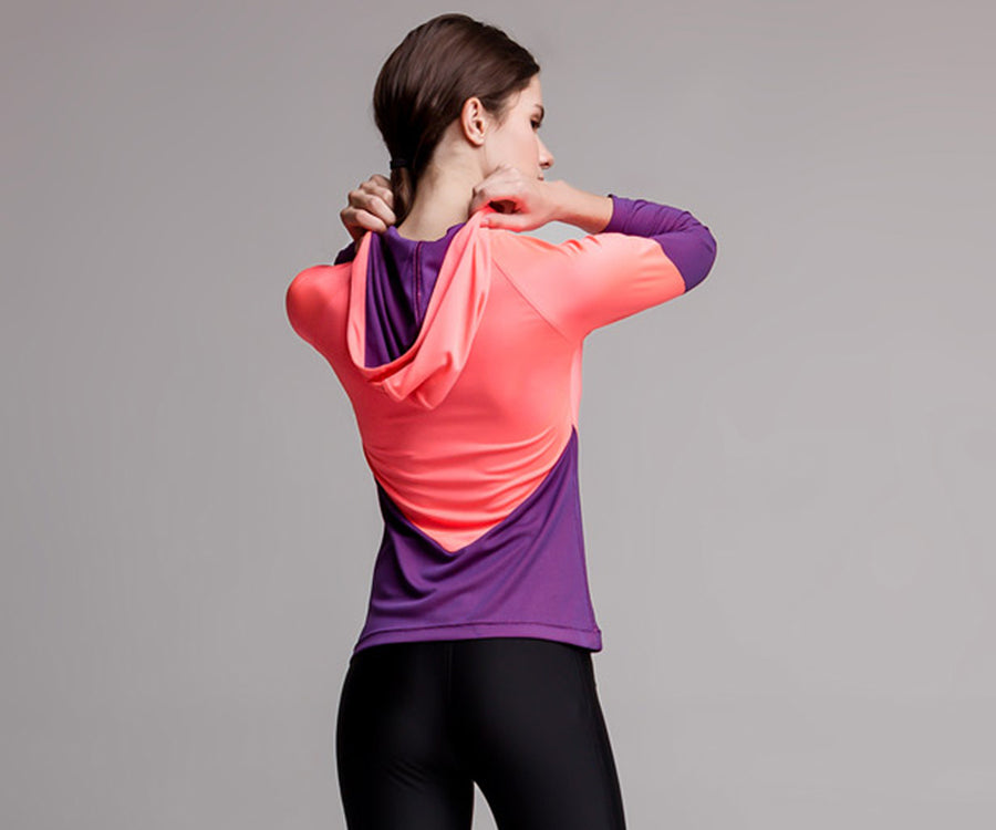 PINK PURPLE V HOODED SHIRT - Adrenalina AW | Luxury Activewear