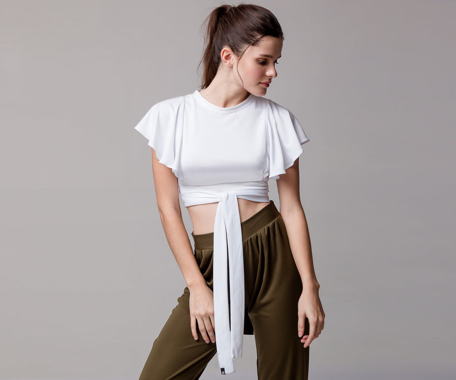 WHITE FLARE CROP TOP WITH LACE - Adrenalina AW | Luxury Activewear