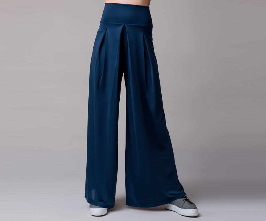 BLUE HIGH RISE WIDE PANTS - Adrenalina AW | Luxury Activewear