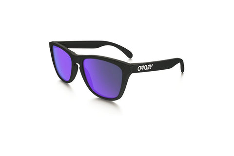 Oakley OO9013-24-298 Frogskinn Sunglasses, Matte Black Frame, Violet Iridium 55mm Lenses