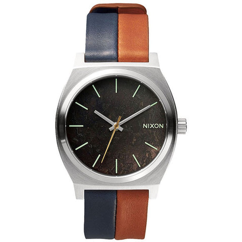 Nixon Men's A0451957 Time Teller Dark Copper/Navy/Saddle Analog Watch, Two-Tone Leather Band, Round 37mm Case