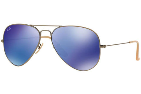 Ray-Ban RB3025 167/68 Aviator Flash Lenses Sunglasses, Bronze-Copper Frame, Blue Mirror 55mm Lenses