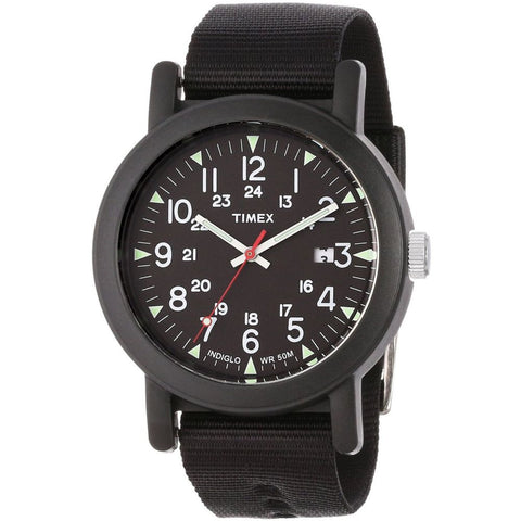 Timex T2N364AB Unisex Originals Camper Analog Display Quartz Watch, Black Nylon Band, Round 40mm Case