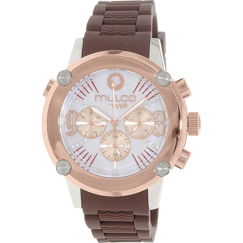 Mulco MW2-28050-033 M10 Women's Analog Display Swiss Quartz Watch, Brown Rubber Band, Round 48mm Case
