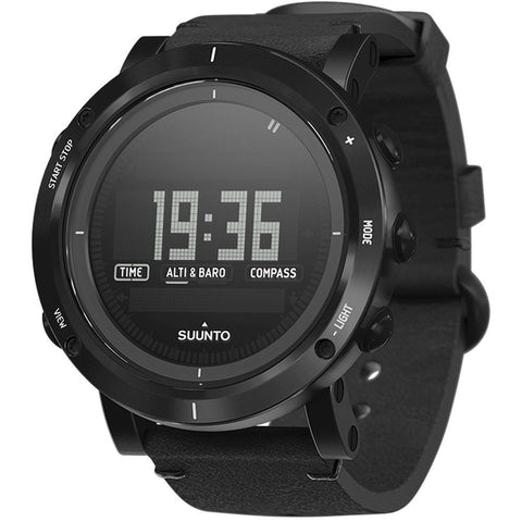 Suunto SS021215000 Essential Carbon Digital Display Quartz Watch, Black Leather Band, Round 49.1mm Case