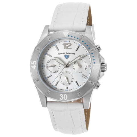 Swiss Legend SL-16016SM-02-WHT Paradiso Women's Analog Display Quartz, White Leather Band, Round 38mm Case