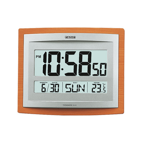 Casio ID-15-5 Digital Display Wall and Table Clock, Square 246mm Case, Brown