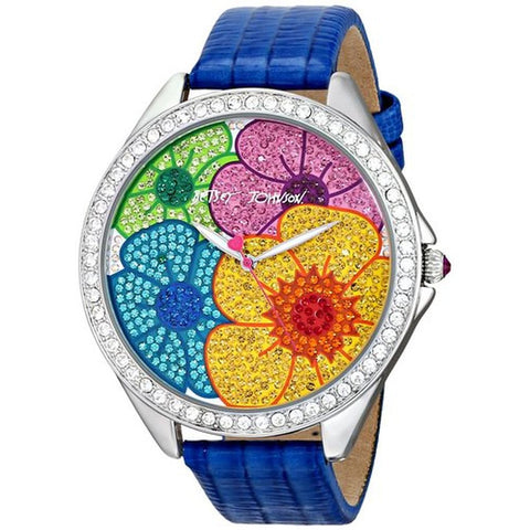 Betsey Johnson BJ00248-11 Analog Display Quartz Watch, Blue Leather Band, Round 48mm Case